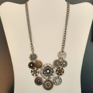 Metal disks with crystals necklace